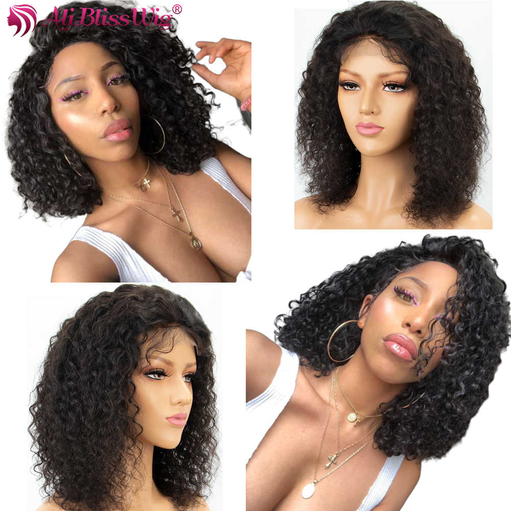4x4 Lace Closure Wig Curly Lace Front Human Hair Wigs For Black Women Brazilian Remy Short Curly Bob Wig Pre Plucked ALIBLISSWIG