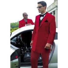 Top Quality Two Buttons Red Groom Tuxedos Notch Lapel Men Business Suit Mens Wedding Suits for mens 2017( jacket+Pants+vest+tie)