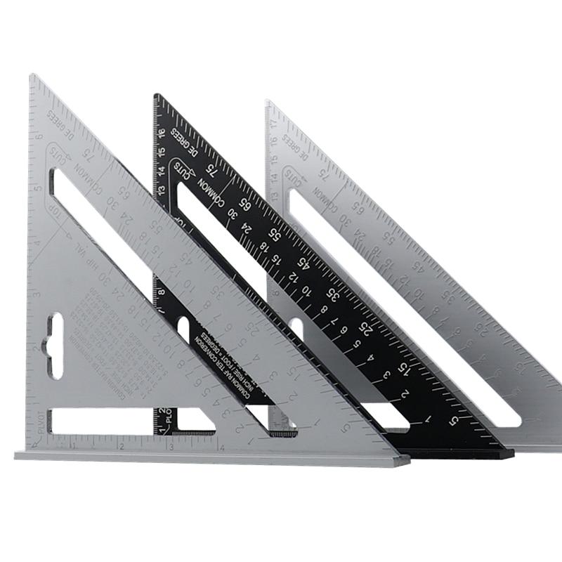 7 ''triángulo ángulo transportador de aleación de aluminio velocidad cuadrado Regla de medición inglete para marco de construcción herramientas de medición de carpintero