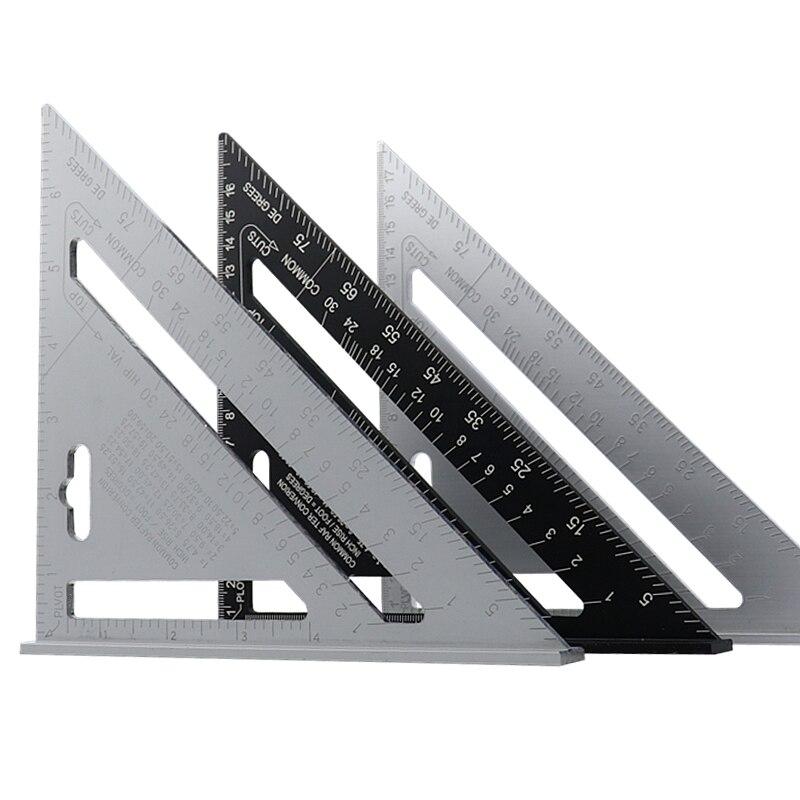 Règle de mesure carrée de vitesse d'alliage d'aluminium de rapporteur d'angle de Triangle de 7 ''pour encadrer des outils de mesure de charpentier de bâtiment