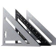 Transportador de ángulo triangular de 7 pulgadas, Regla de medición cuadrada de velocidad de aleación de aluminio, inglete para enmarcar herramientas de medición de carpintero de construcción