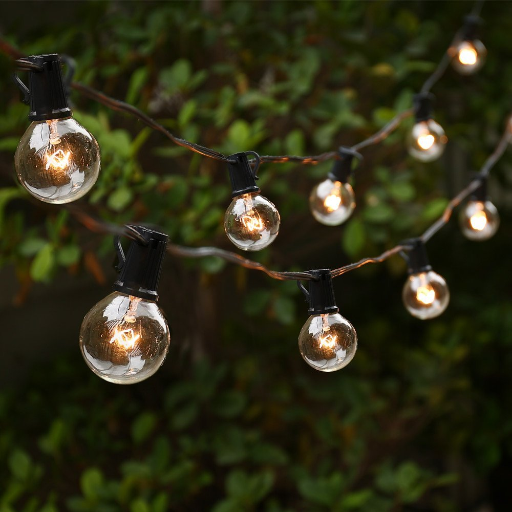 Decorative Outdoor Lighting: G40 String Lights With 25 G40 Clear Globe Bulbs Listed For