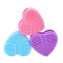 1PC Silicone Fashion Heart Shape Egg Cleaning Glove Makeup Washing Brush Scrubber Tool Cleaners OK 0806