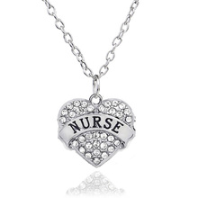 3 Color Crystal Silver Chain Letter Nurse Heart Pendant Necklace For Women Nursing Son Kid Baby Necklaces Wholesale Jewelry