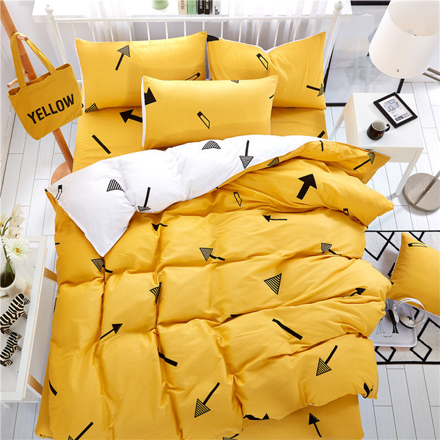 textiles de maison jaune et blanc fleches modele 100 coton ensembles de literie 4