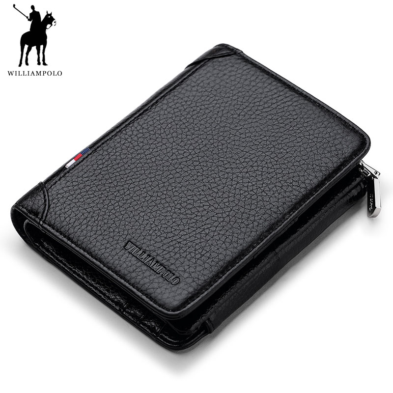 WILLIAMPOLO 2018 Luxury brand Leather 100% Handmade Fashion 3 Bifold Striped Wallet Coin Pocket Men POLO265