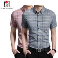 Men Shirt Short Sleeve 2017 Brand Shirts Men Casual Male Slim Fit Simple Plaid Business Chemise