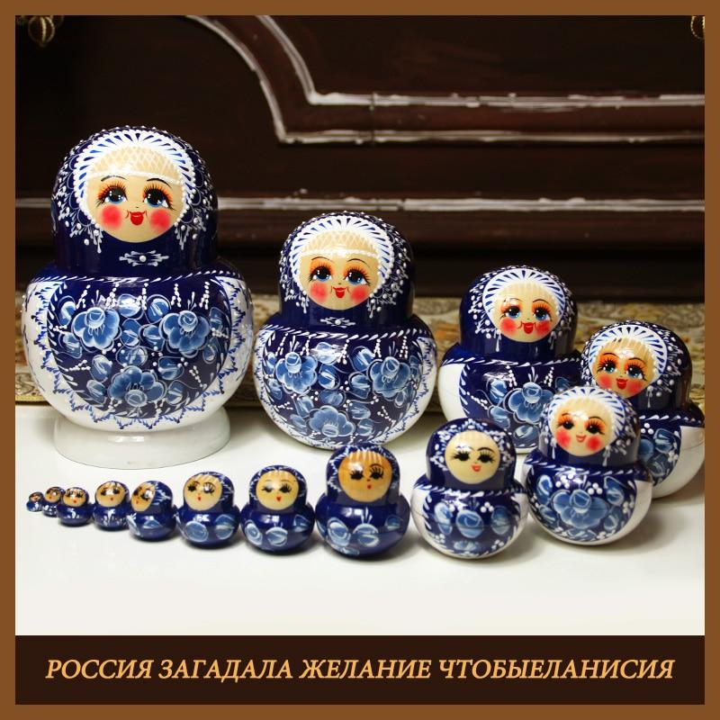 2019 new 15 set nesting wooden doll toys painted embryos russian nesting toy matryoshka dolls kids