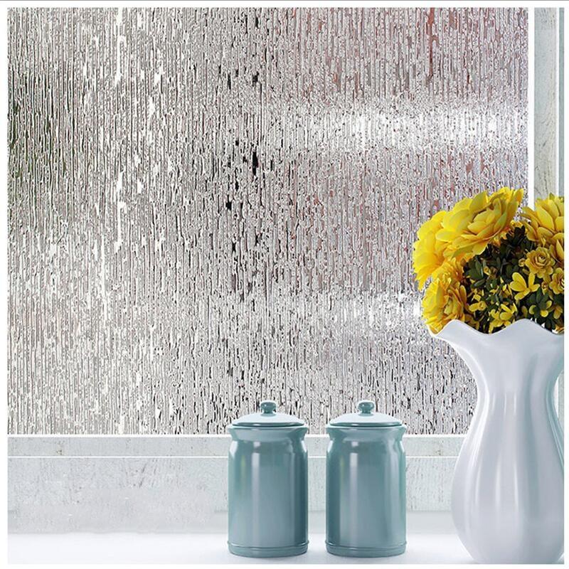 Wide 45/60/90cm Static Cling Window Film Frosted Privacy Glass Window Sticker No-glue Waterproof Kiss The Rain Bedroom Bathroom