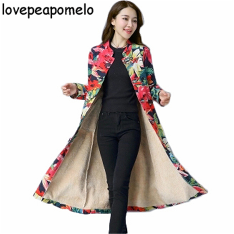 Autumn Winter Windbreaker Large Size Women's Costumes Vintage Print Floral Overcoat Loose Big Size Female Long   Trench   J323