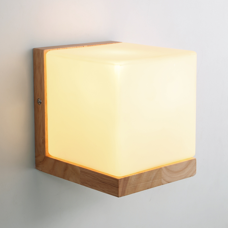 Modern Oak Wood Cube Sugar Shade Wall Lamp Bedroom Wooden