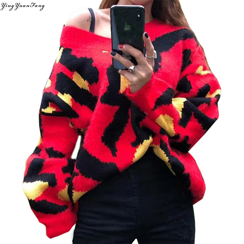 YingYuanFang Fashion new look good color lines thick plush V-neck lazy sweater