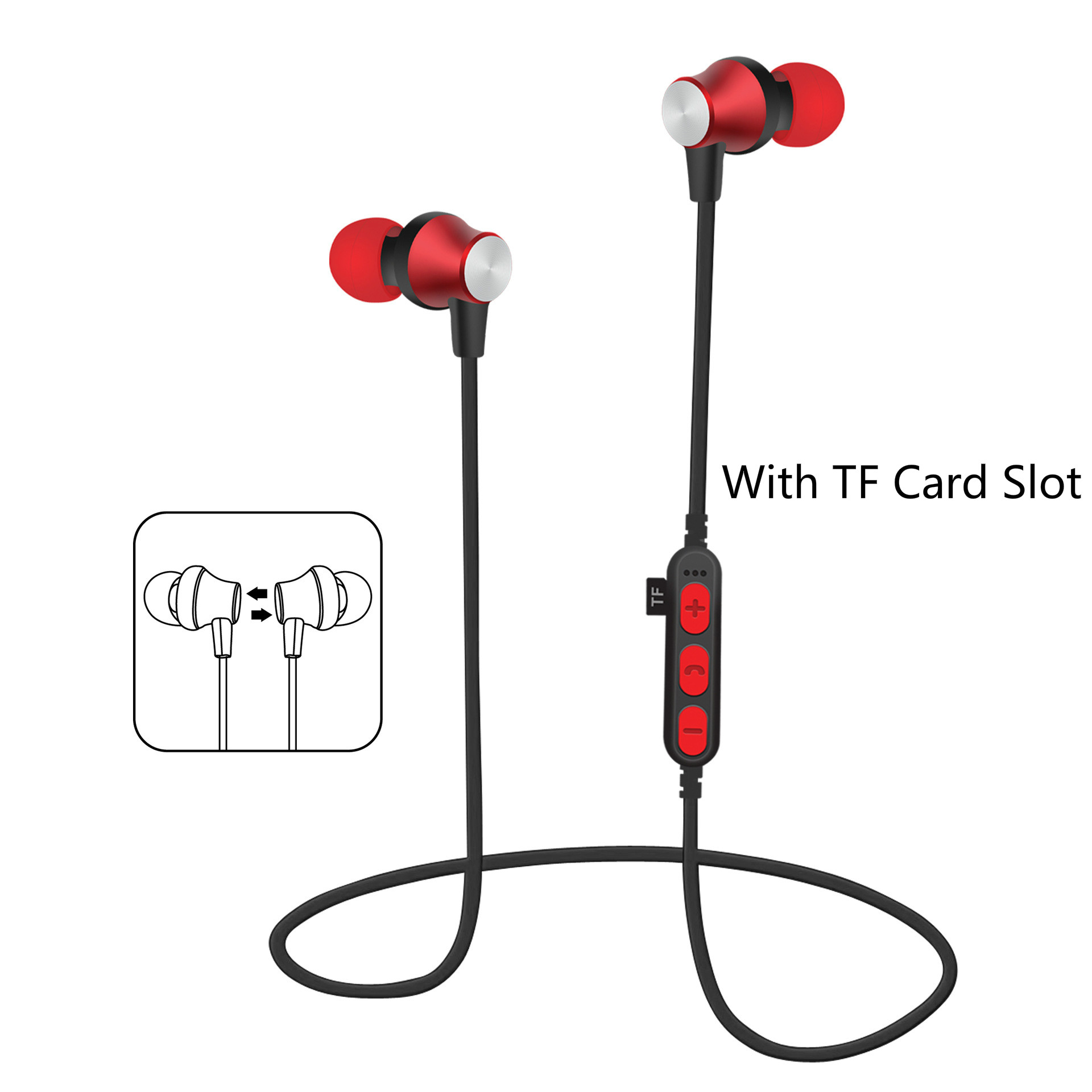 Magnet wireless Bluetooth headset with TF card slot  earphone subwoofer headphone with microphone for all phone mymei 2016 new wireless bluetooth handsfree headset super bass music player headphone with microphone tf card slot for smartphones