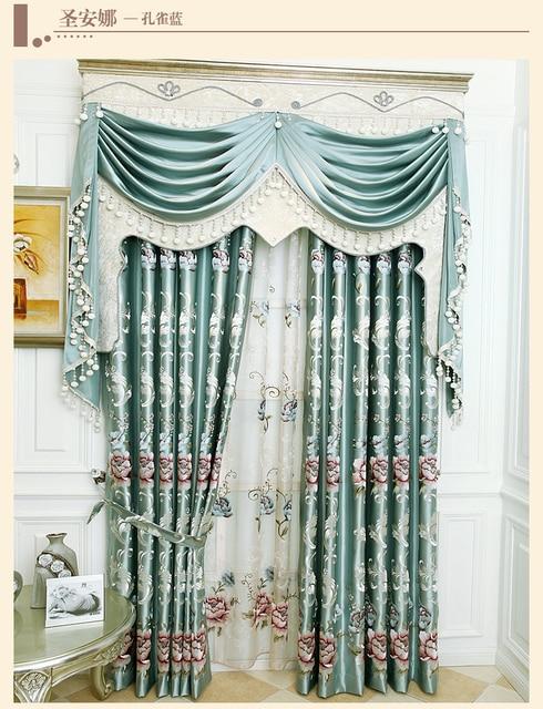 Franse romantische luxe gordijn pauw blauw blinds tule for Romantische gordijnen