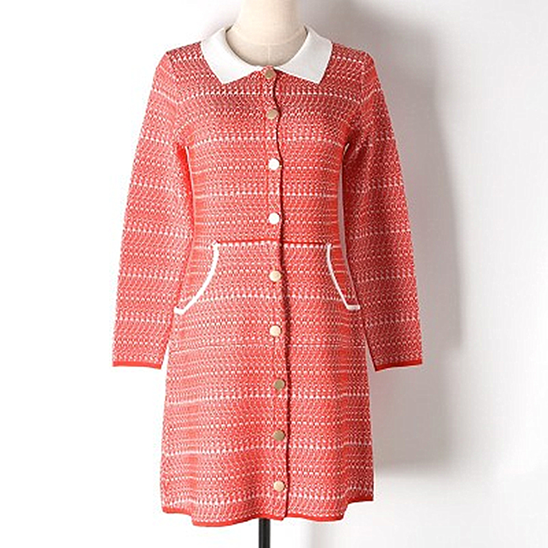 Early Spring New Contrast Color Lapel Buckle Cardigan Mixed Woven Knit Dress Double Pocket Solid Female