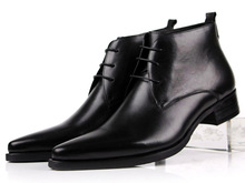 Large size EUR46 brown / black pointed toe dress shoes mens ankle boots wedding shoes genuine leather mens business shoes