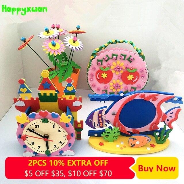 Happyxuan 4pcs/lot DIY Art and Craft Kits Material for Children EVA Sewing Bag Photo Frame Kindergarten Educative Girl Toys