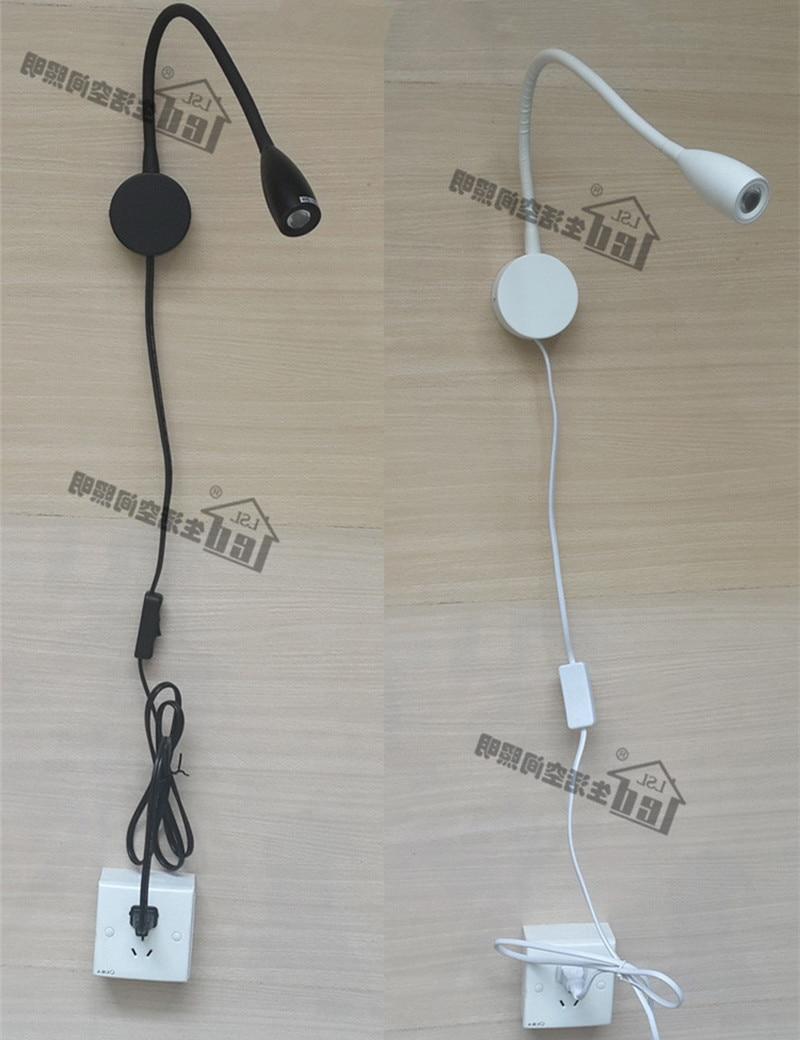 ФОТО Plug-Wired Woodenboard Mounted LED Lamp Matte White/Black Optional CREE LED 3W AC100-240V Hose Flexible Plug as per request