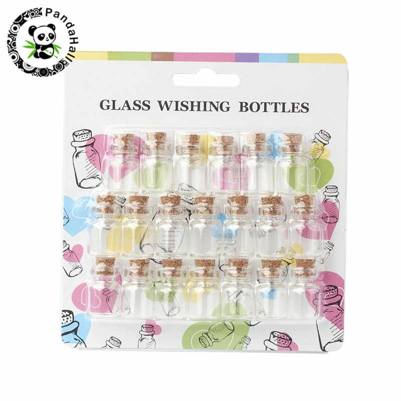 Wish Bottles Mini Tiny Small Glass Bead Jars Storage Bottle Containers with Cork Stopper 16x22mm