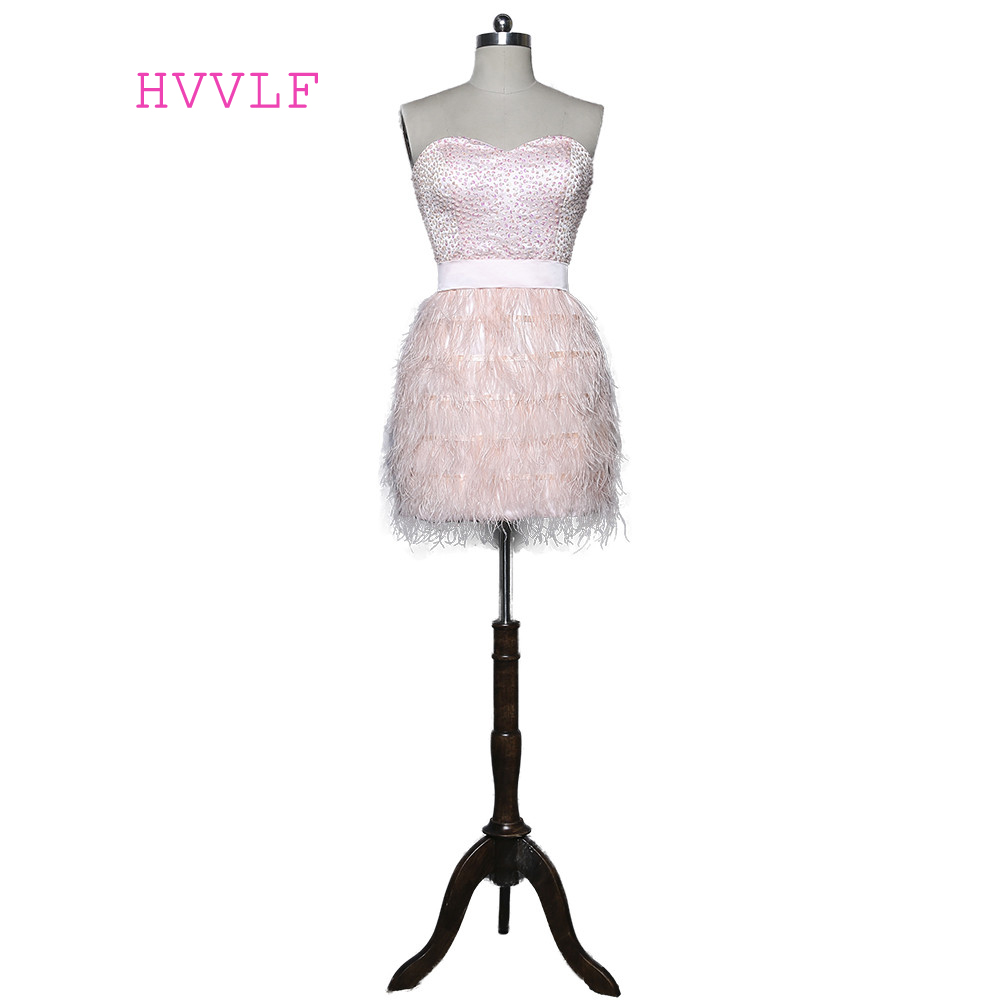 Pink 2018 Elegant   Cocktail     Dresses   Sheath Sweetheart Short Mini Beaded Feather Backless Party Homecoming   Dresses
