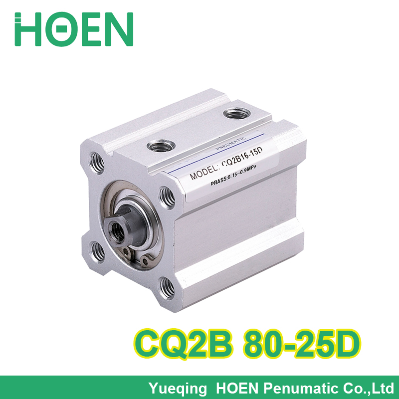 CQ2B80-25 SMC Type CQ2B series 80mm bore 25mm stroke Double Action single rod Pneumatic Pneumatic Compact Cylinder  CQ2B80*25 high quality double acting pneumatic gripper mhy2 25d smc type 180 degree angular style air cylinder aluminium clamps