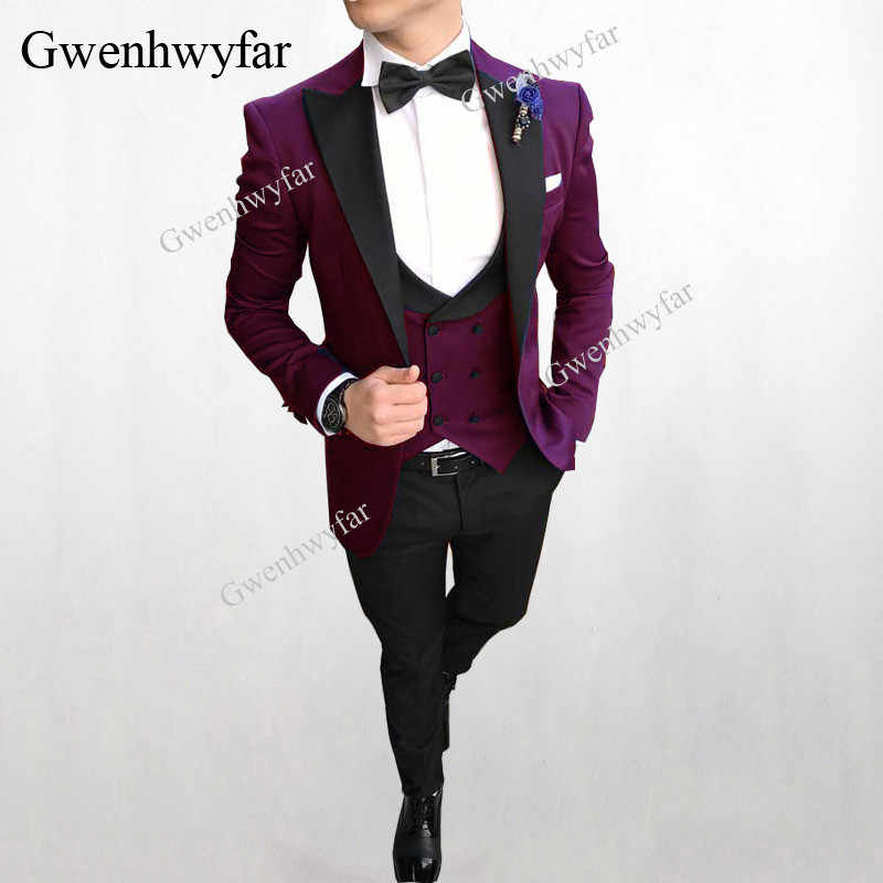 Gwenhwyfar Elegant Burgundy Formal Men's Suits Wedding Groom Costume Homme Slim Fit British Decent Dinner Prom Suit Male Tuxedos