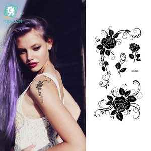 Rocooart HC1185 Women Sexy Finger Flash Tattoo Stickers Black White Flowers Rose Design Water Transfer Temporary Tattoo Sticker