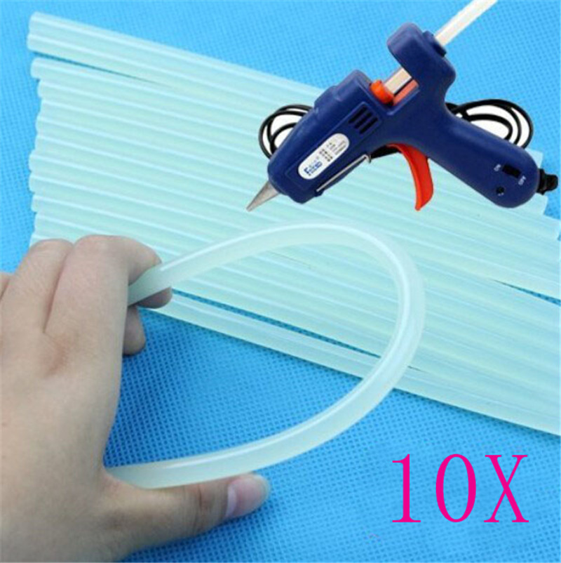 New 10Pcs 7mm Hot Melt Glue Stick For Heat Pistol Glue 7x100mm High Viscosity Glue Glue Stick Repair Tool Kit DIY Hand Tool