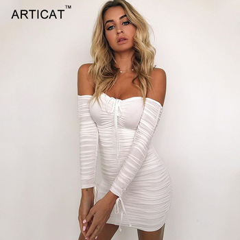 Articat Women Autumn Winter Bandage Dress Women 2019 Sexy Off Shoulder Long Sleeve Slim Elastic Bodycon Party Dresses Vestidos