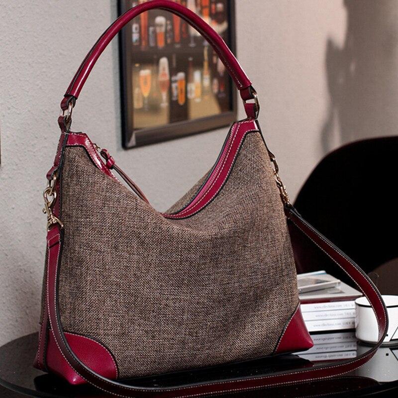 Barhee Designer Real Genuine Leather Women Handbag Hobo Shoulder Bags Linen Fabric Messenger Bag Cowhide High Quality In From Luggage