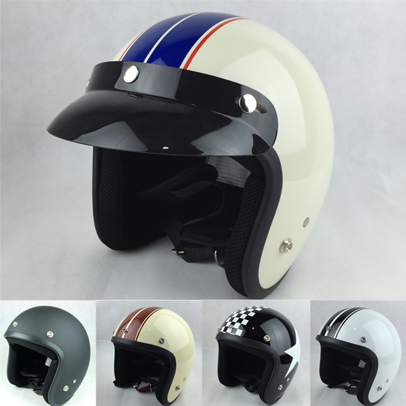 vcoros vintage motorcycle helmet 3 4 open face moto casco retro style s m l xl xxl size dot ece. Black Bedroom Furniture Sets. Home Design Ideas