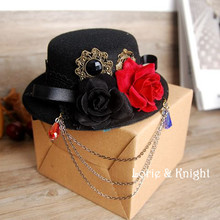 Retro Black Fedoras Hat Gothic Punk Lolita Cosplay Headdress Female Mini Top Hat with Flowers