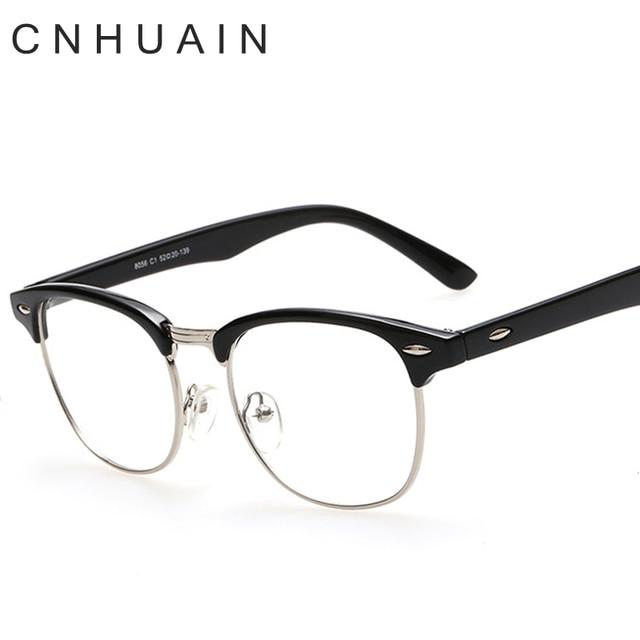 ca63025d022 CNHUAIN Eyeglasses Men Brand Optical Frames Women Half Rim Clear Lens Eye  Glasses Frames For Women Female Spectacle Frame myopia