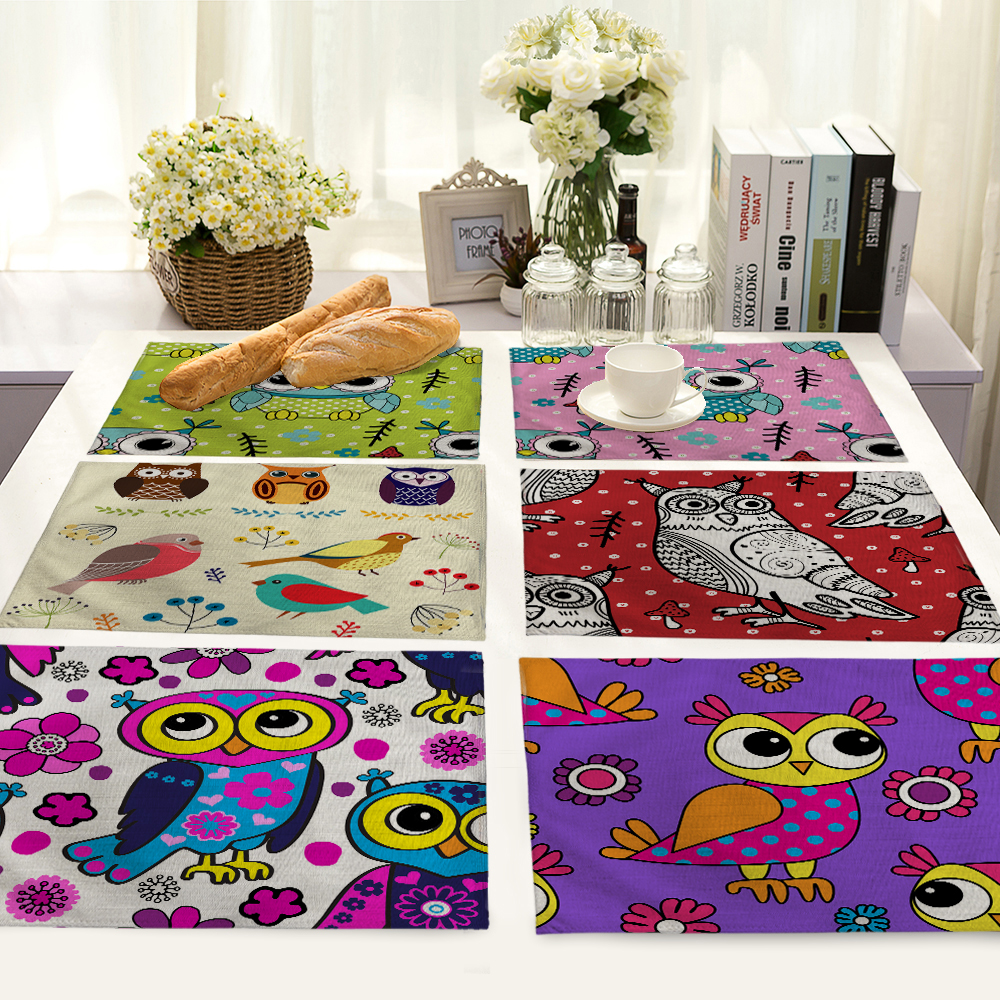 Cute Cartoon Owl Pattern Table Mat Animal Table Napkin Placemat Kitchen Decoration Dining Accessories 42x32cm MC0059