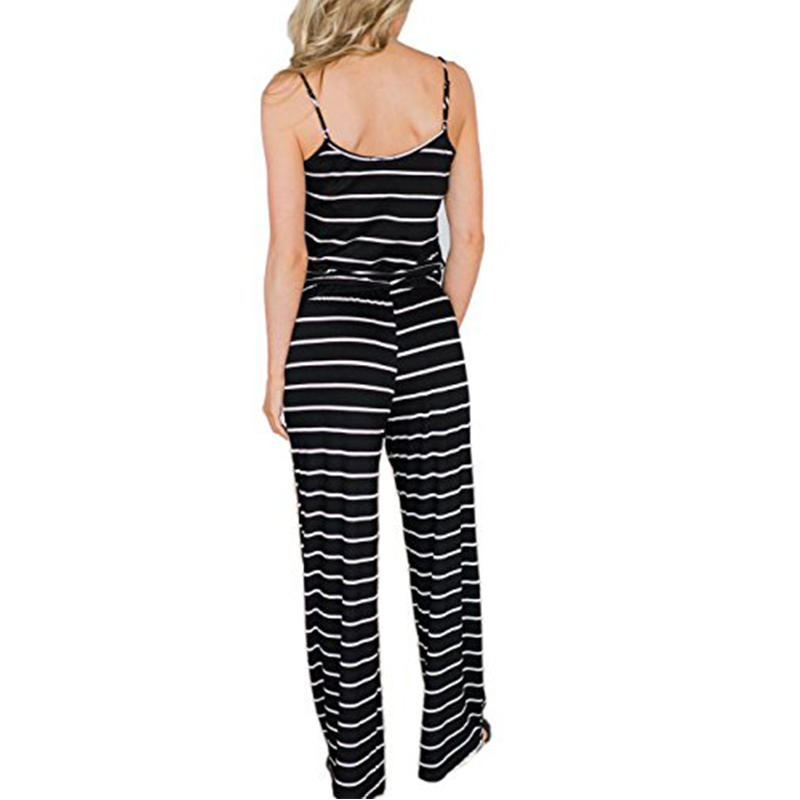 Long Striped Jumpsuits Summer Women Spaghetti Strap Long Playsuits Sexy Casual Beach Jumpsuit Wide Leg Pants Overalls Plus Size 1