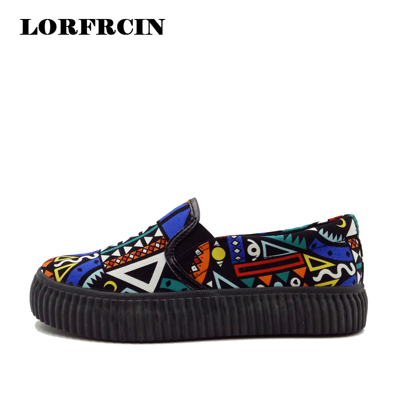 2015 New Arrival Autumn Winter Fashion Shoes Woman Casual Canvas Shoes Geometric Pattern Women Flats Women Loafers
