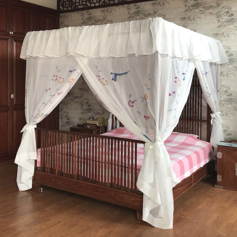 Us 255 31 41 Off Elegant Lace Hand Painted Mosquito Net Canopy Bed Curtain Valance Bird Design Drapery Home Decoration Roman Curtains Bedding In