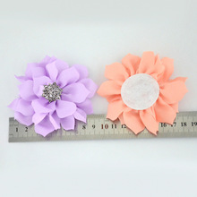 Nishine 120pcs/lot Fabric Lotus Flower With Rhinestone Button Hair Accessories for Kids Women DIY Party Decoration