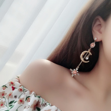 купить Newest Shiny Crystal Star Moon Earrings Charming Earrings for Women 2019 Fashion Jewelry Handmade Female Long Drop Earrings Gift в интернет-магазине