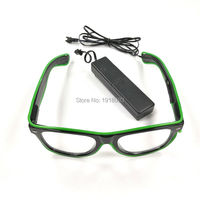 For New Years Day Holiday Lighting Decoration 10pieces EL Wire Glowing Glasses Free Shipping EL Glasses Light Up Glasses