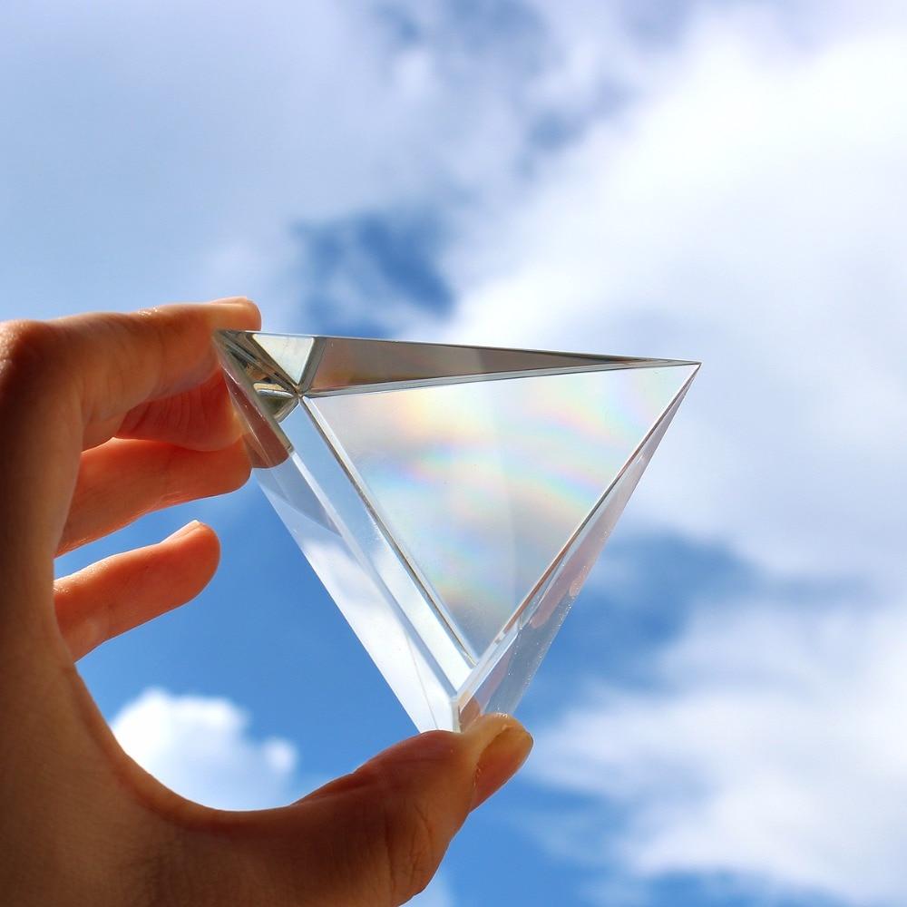 Triangular 100mm Clear Optical Glass Prisms Pyramid Crystal