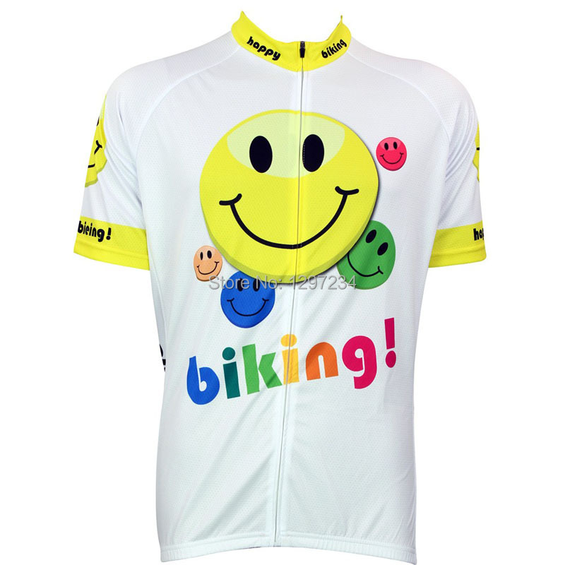 027de7fce 2016 men funny face smile bike jersey black cycle clothing yellow cycling  jersey lover s novelty white bike shirt gear-in Cycling Jerseys from Sports  ...