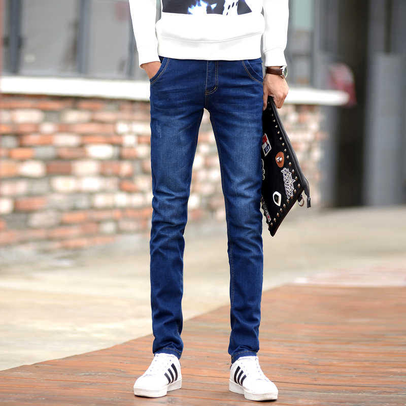 Pantalones Vaqueros De Moda Para Hombre Pantalones Vaqueros Ajustados Azul Oscuro Elasticos Para Hombre Pantalones De Mezclilla Ajustados Informales Estilo Coreano Para Hombre Pantalones Vaqueros Pantalones Vaqueros Aliexpress