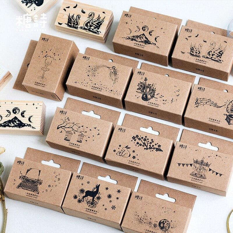New animal landscape student child wood stamp DIY wooden ...