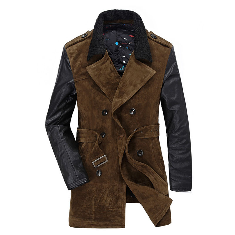Long Brand-Clothing Men's Overcoat Atmosphere Cotton Dust Coat High-Quality Goods Lambs Warm Winter Wool Coat Brown Black M 2XL цены онлайн