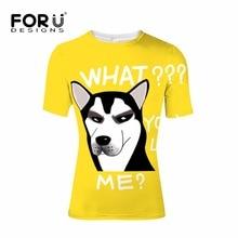 FORUDESIGNS Funny Emoji Hip Hop T-shirt Men Clothing Summer t shirt Mens Street Punk Elastic Tees Shirt Mister Dog tshirt Vogue