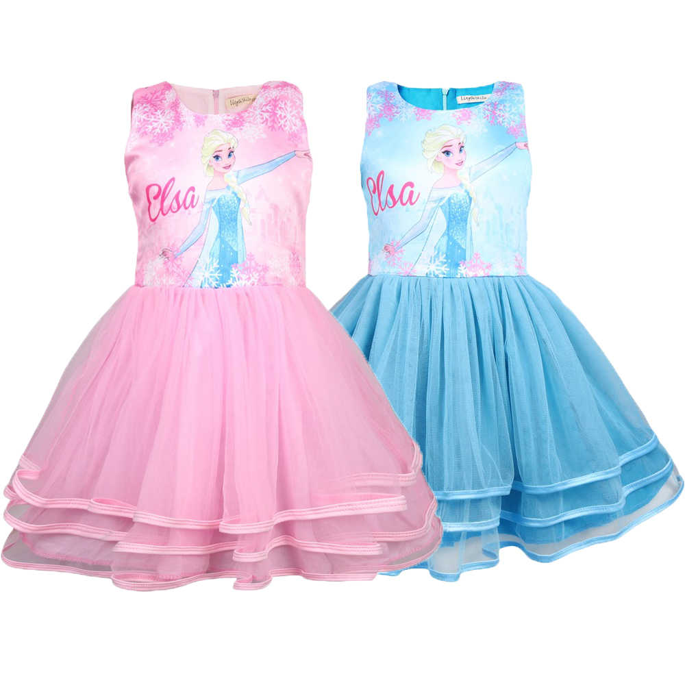 New High Quality Elsa Anna Dress Girls Dress Cosplay Party