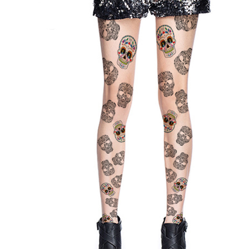 febb0c5c615 Detail Feedback Questions about Decorative Pattern Skulls Color Printed  Silk Stockings Tights Pants Pantyhose Women Patterned Tights Nylon Stockings  Girls ...