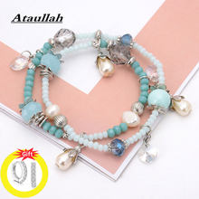 Ataullah Handmade Double Layer Bracelets Beads Natural Stone Pearl Bangles With Crystal Charming Jewelry for Woman BW014NS(China)