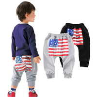 New Fashion Children's Clothing 2017 Kids Boy GilrsBrand Flag print Long PP Harem Pants spring Children Sport Trousers